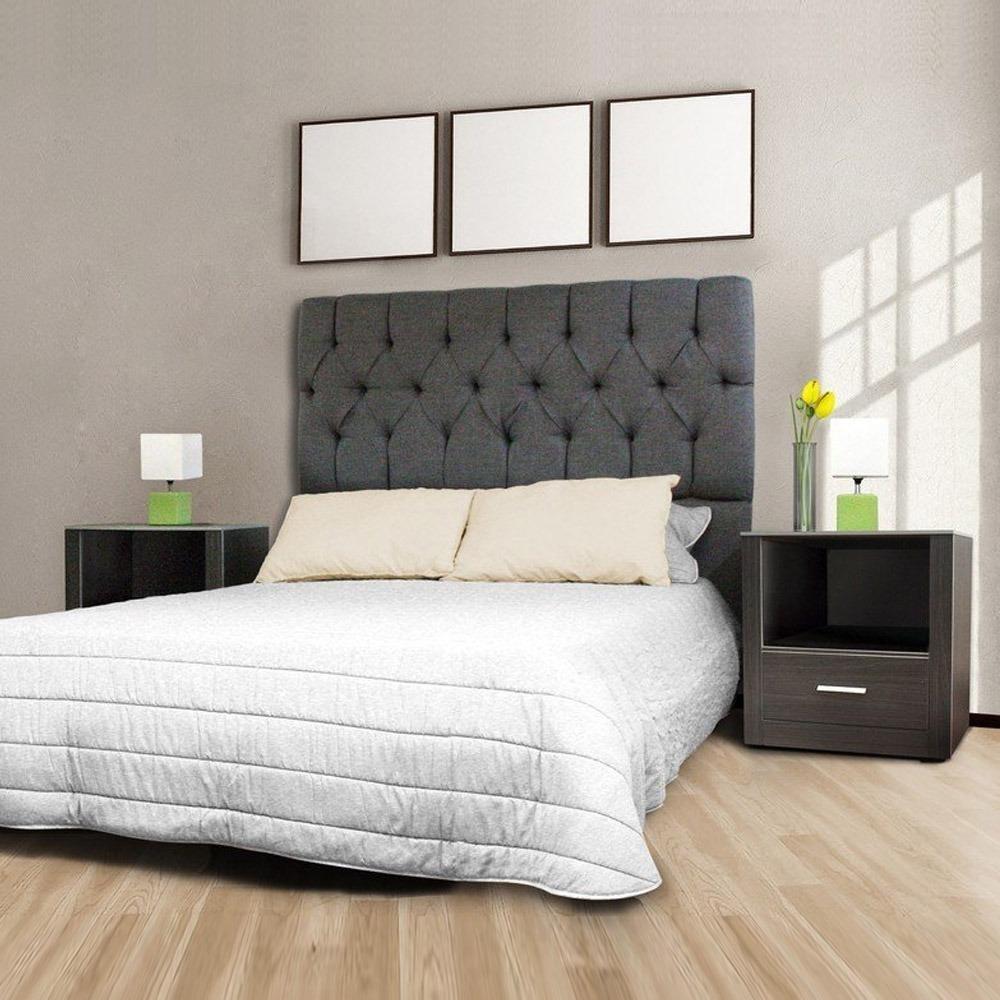 Cabecera dos buros vintage lino gris recamara queen size for Modelos de dormitorios para ninos