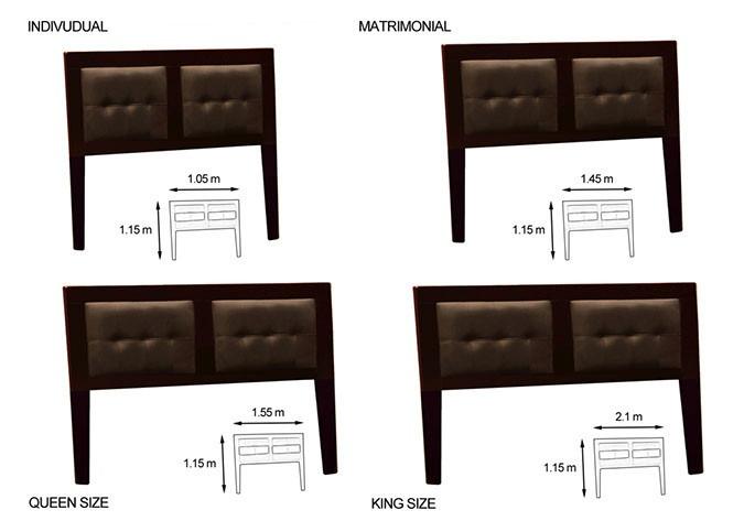 Cabecera tapizada individual matrimonial y queen size for Medidas de cama matrimonial y queen size
