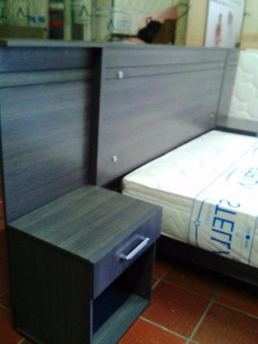 cabecero madera con mesas de noche  para basecama domicilio