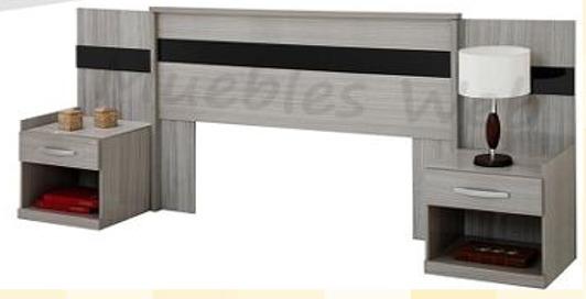 Cabecero madera con mesas de noche para basecama domicilio for Mesas de noche de madera