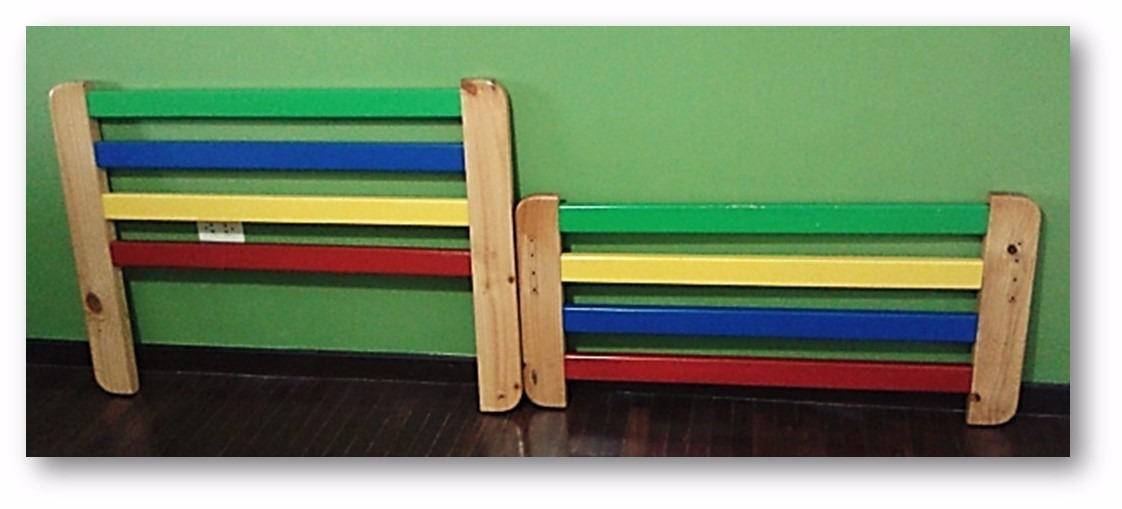 Cabecero y pie de cama individual en madera maciza bs for Cama individual madera