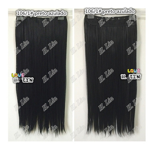 cabelo alongamento aplique tic tac fibra japonesa 60cm cor 1
