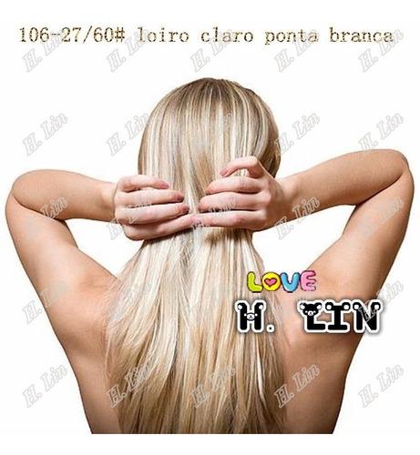 cabelo alongamento aplique tictac 60cm cor 27/60 loiro claro