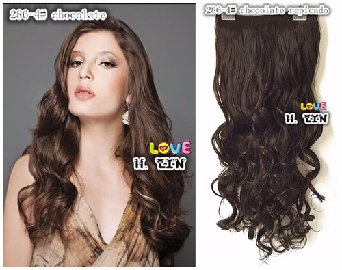 cabelo alongamento tic tac 75cm fibra japonesa 4 chocolate