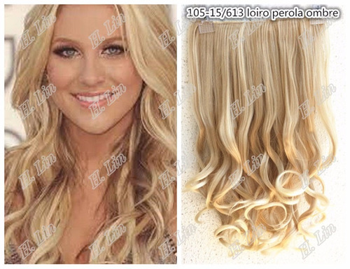 cabelo aplique tic tac 60cm fibra organico 15/613 loiro 140g