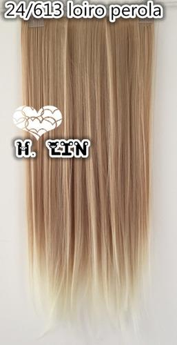 cabelo aplique tic tac 60cm luzes mechas 24t613 loiro claro