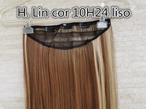 cabelo aplique tic tac 60cm luzes mechas chocolate 10h24