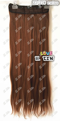 cabelo aplique tic tac 75cm fibra japonesa cor 27/27 ruivo