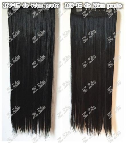 cabelo aplique tic tac 75cm kit 8 pecas cor 1# preto liso