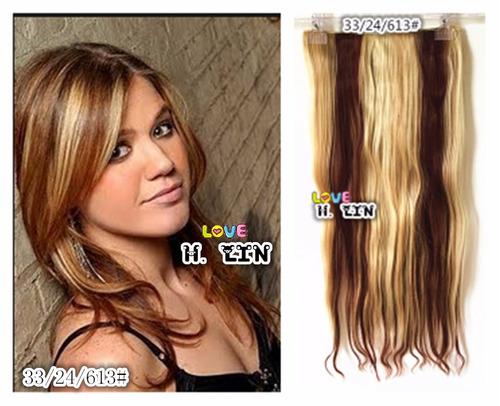 cabelo aplique tic tac com luzes mechas 60cm 33/24/613# liso