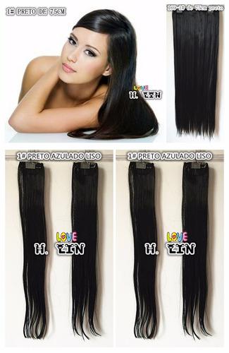 cabelo aplique tic tac kit 8 pecas cor 1# preto liso 400gram