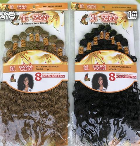 cabelo cacheada 8 telas afro organica 260g cor 1# preto 50cm