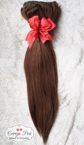cabelo humano castanho 45cm 200gr 10pcs promoção