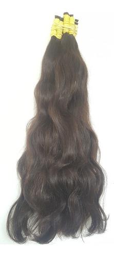 cabelo humano castanho natural levemente ondulado 50cm 50gr.