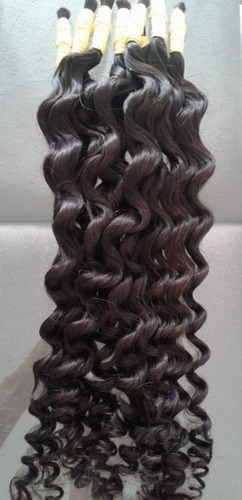 cabelo humano com cachos largos definidos 50cm 100 gramas.