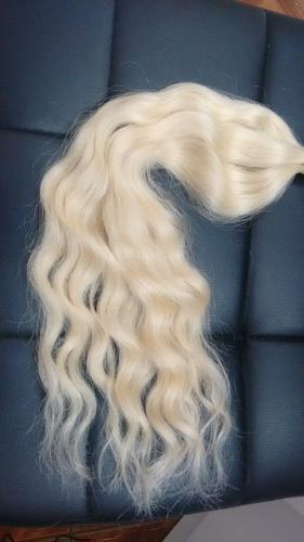 cabelo humano loiro claro ondulado 50 gr 45 cm brasileiro