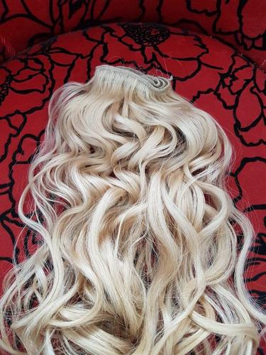 cabelo humano loiro leves ondas tela  40 cm 50 gr- mega hair