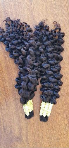 cabelo humano p/ mega hair cacheado 40/45cm - 100g