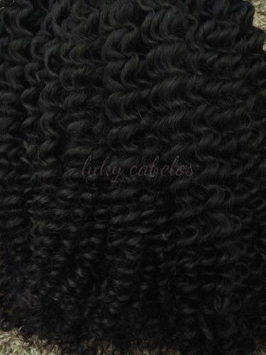cabelo mega hair cacheado a vapor 70 cm 200 gr, frete gratis