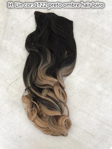 cabelo tic tac 60cm 1t22 preto ombre hair loiro californiana
