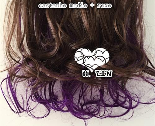 cabelo tic tac 60cm castanho medio natural+roxo escuro 105g