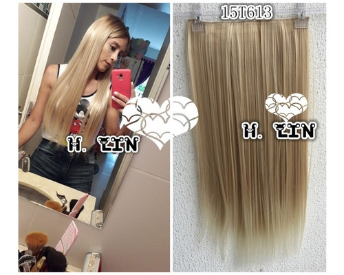 cabelo tic tac 60cm cor 15/613 fibra organico loiro platinad