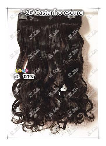 cabelo tic tac 60cm cor 2 castanho kit 2 apliques + 1 franja