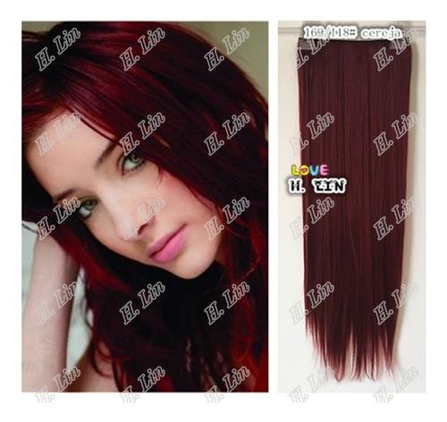 cabelo tic tac 75cm cor 1b preto liso fibra organico 130gram