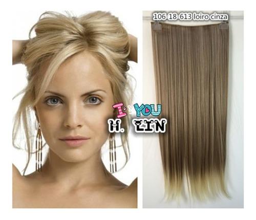 cabelo tic tac luzes mechado 60cm 18/613 loiro acinzentado