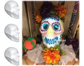 Cabeza 5pz Cráneo De Unicel Halloween Día De Muertos Piratas