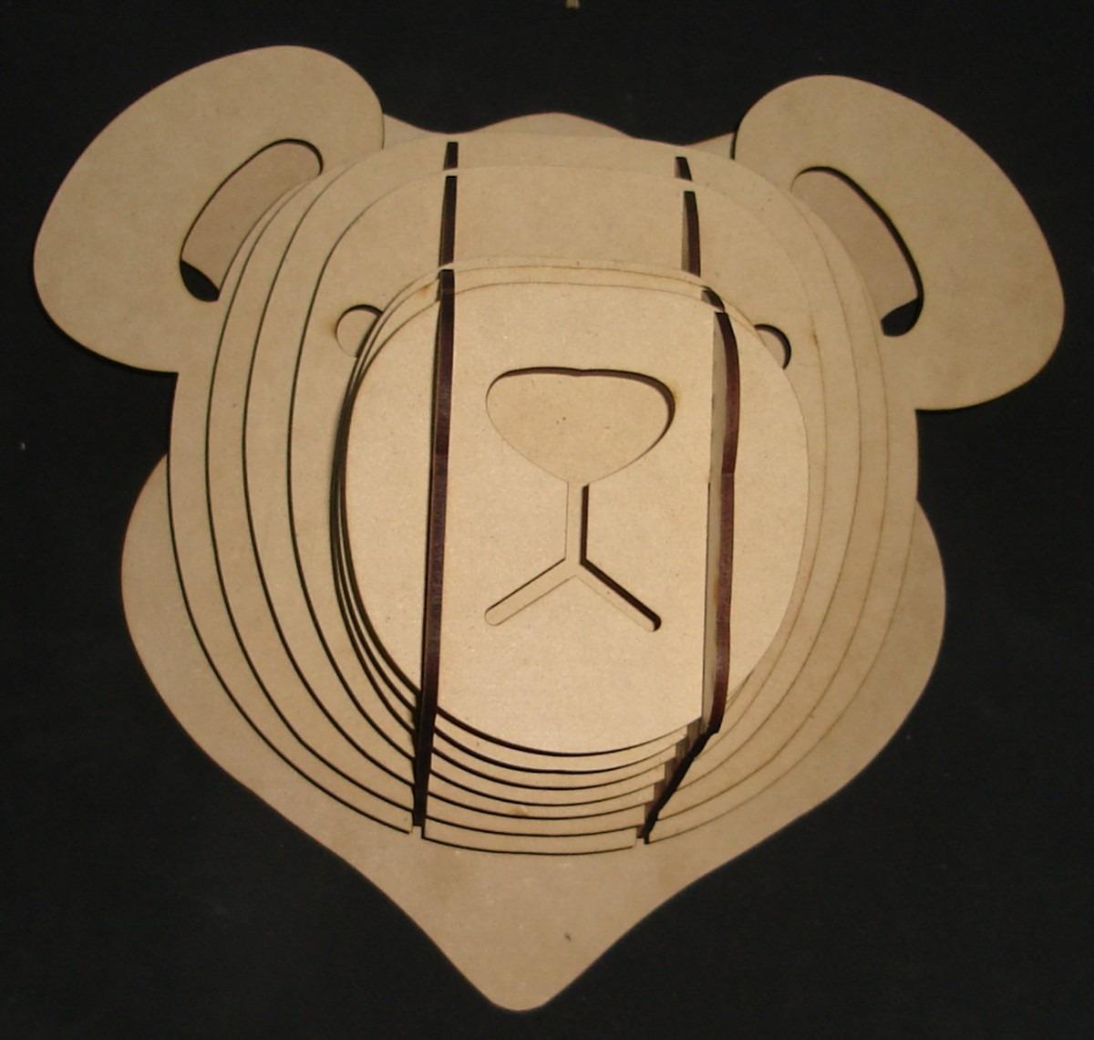 Cabeza de oso mdf cabeza de animal trofeo rompecabezas 3d - Cabezas de animales decoracion ...