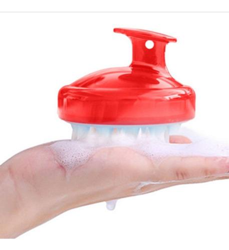 cabeza de silicona roja cepillo para lavar el cabello champú