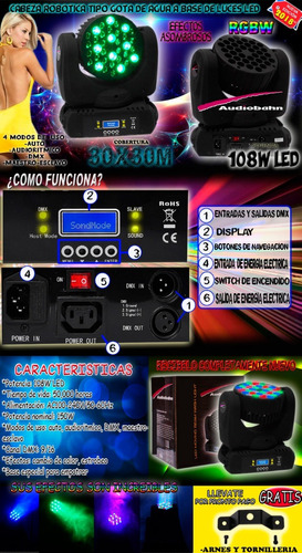 cabeza movil 360 rgbw profesional audiobah woow vecctronica