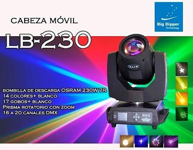 cabeza movil beam 230w 7r big dipper dmx escenario luces