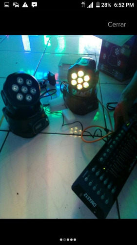 cabeza movil wash 7 x 10w beam ritmico luces led dmx evento