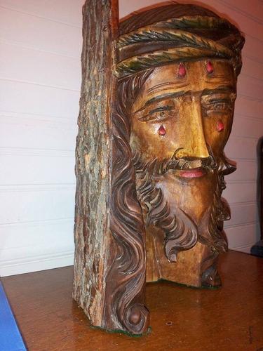cabeza rostro tallado en madera de jesus