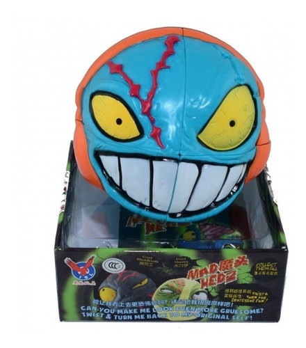 cabeza zombi cubo magico 2x2 espectacular juguete halloween