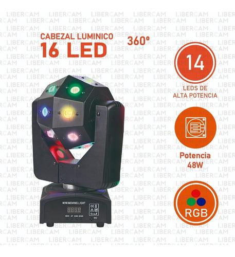 cabezal bola led 360° 16 led fiesta dmx audioritmica boliche