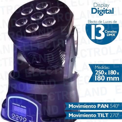 cabezal movil 7 led x 12w rgbw robotico dmx 13 canales dj