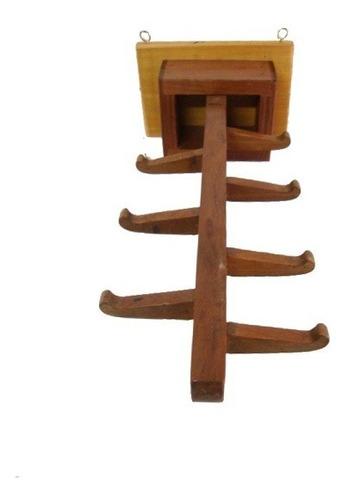 cabide móvel em madeira c/ 7 ganchos