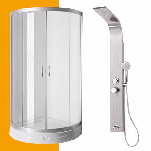 cabina box 90x90 angular + ducha escocesa acero inoxidable