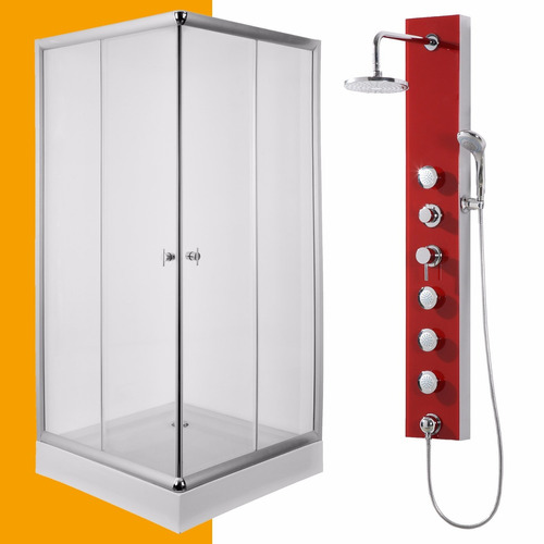 cabina box 90x90 cuadrada + ducha escocesa con duchador pdv