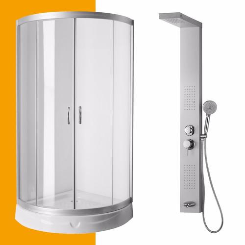 cabina box 90x90 + ducha escocesa con panel hidromasaje