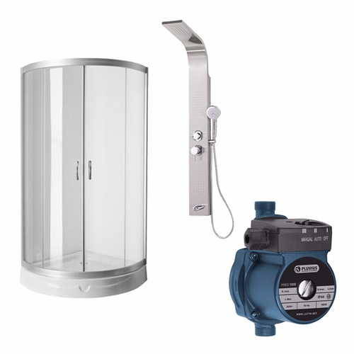 cabina box ducha escocesa acero bomba presurizadora