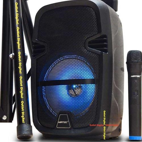 cabina de sonido activa con tripode batería y micrófono