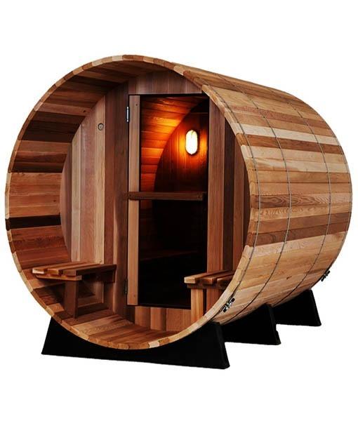 Cabina Sauna Barril Madera Cedar 45m3 Con Asientos Exterior - Cabina-sauna