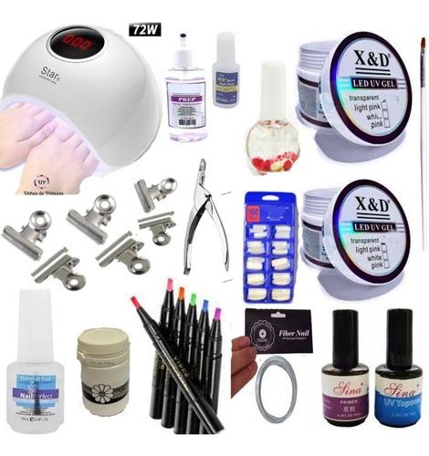 cabine led uv 72w gel xed kit unhas fibra vidro caneta tinta