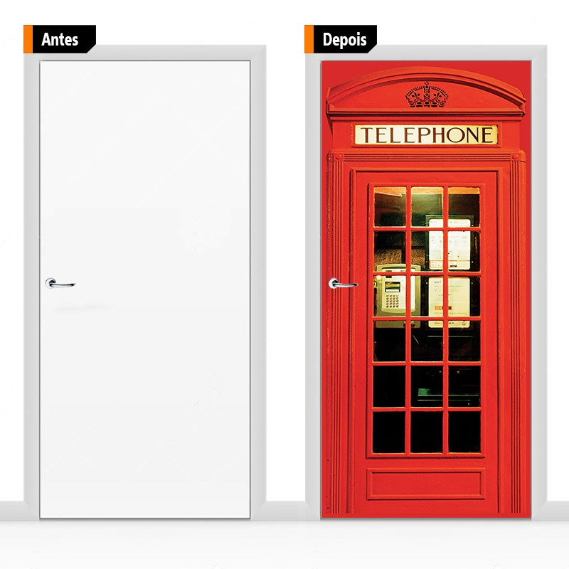 3904c26a0 cabine telefone londres - adesivo decoração para portas. Carregando zoom.