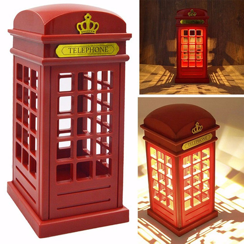 cabine telefone londres metal retro vintage luminária abajur