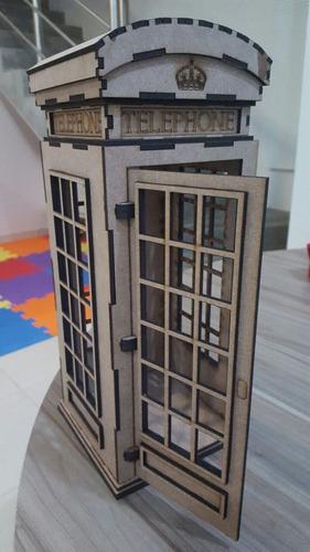 cabine telefonica mdf 3mm - 33,5  cm altura